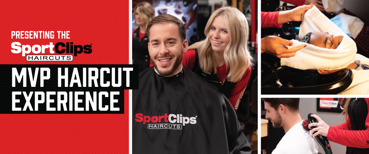 The Sport Clips Haircuts of Colonie  MVP Haircut Experience with stylist giving a client a haircut, a hot towel placed on his face, and using a massager on a clients upper back